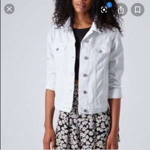 Topshop white denim oversized moto jacket
